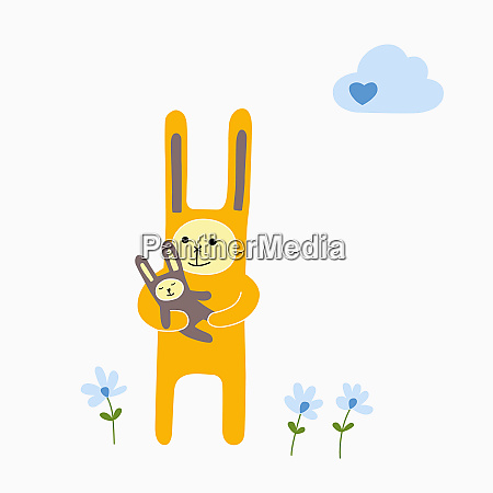 rabbit parent holding child