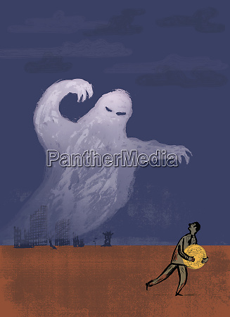 ghost looming over businessman holding large