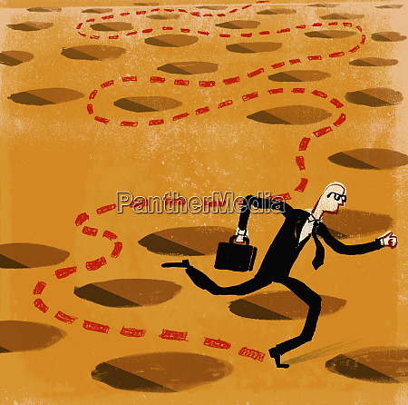 businessman running around holes
