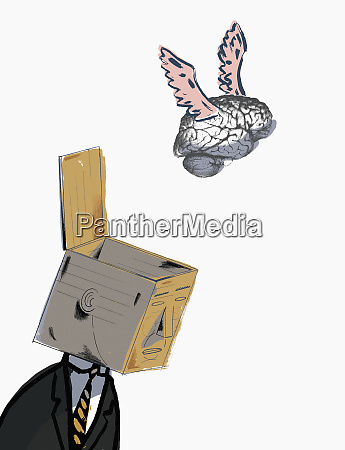 brain flying from open box on