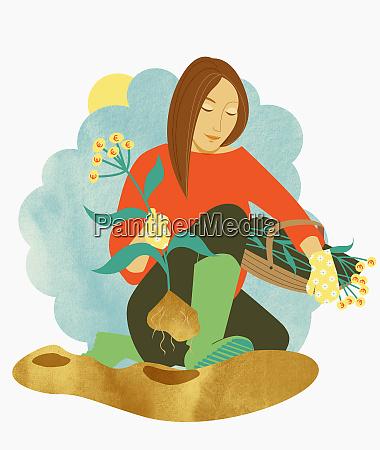 woman harvesting plants with euro symbol