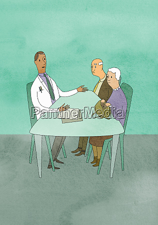 doctor talking to elderly couple in