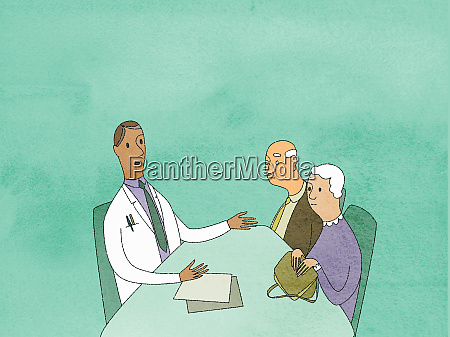 doctor talking to elderly couple in