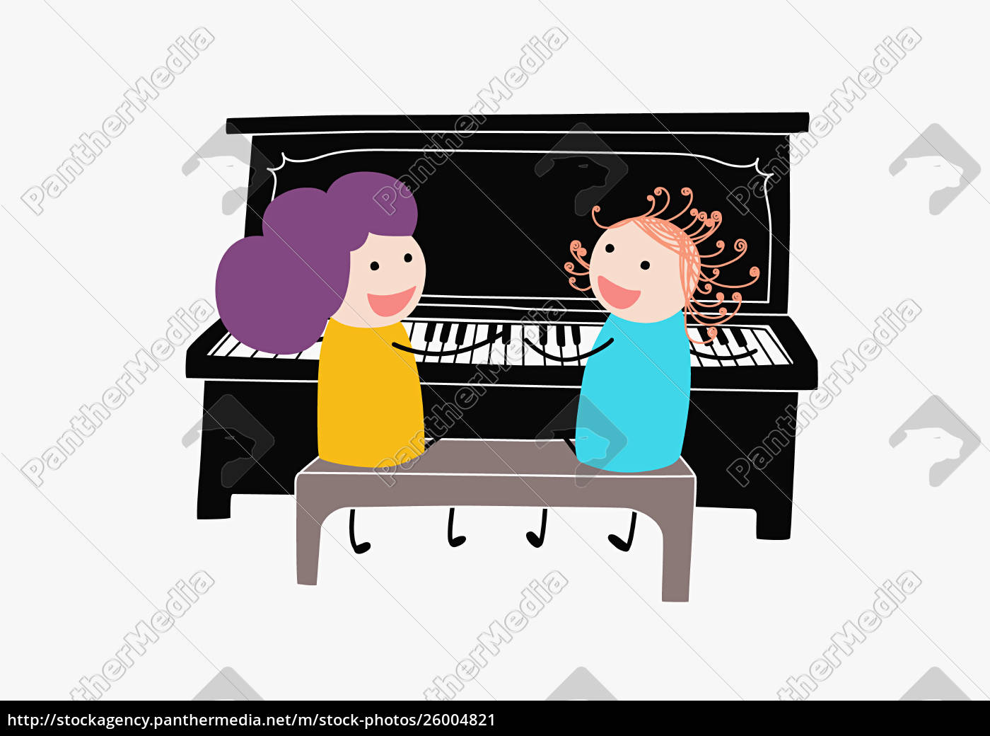 children, playing, duet, on, piano - 26004821