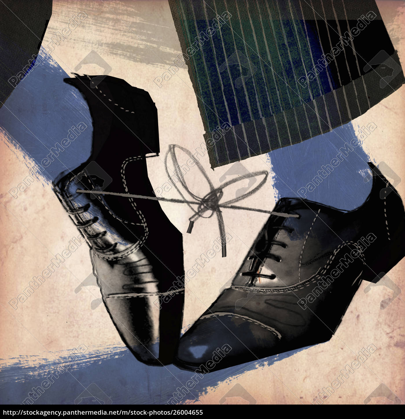 feet, businessman, tripping, with, knotted, shoelaces - 26004655