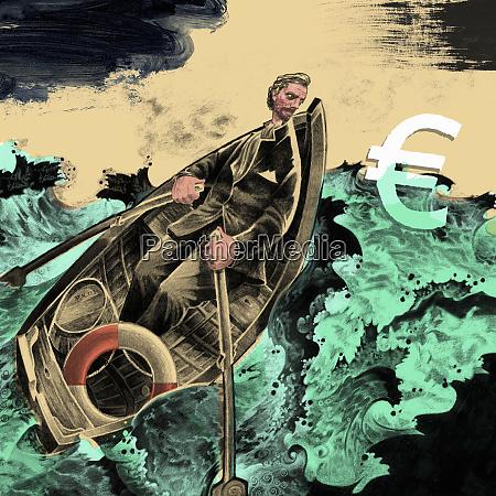 man, rowing, boat, in, stormy, ocean - 26004639