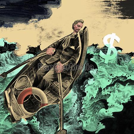 man, rowing, boat, in, stormy, ocean - 26004641