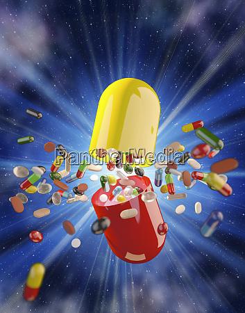 multicolored medicine pills and capsules exploding