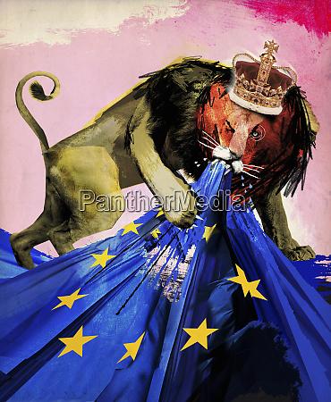 british lion tearing european union flag
