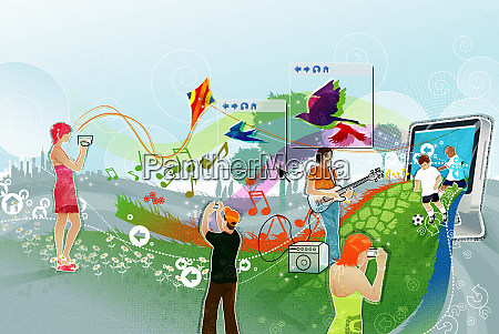 montage of people using digital technology