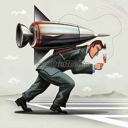 businessman lighting fuse on rocket pack