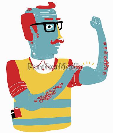 aging man flexing biceps