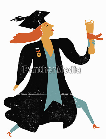 graduate wearing gown and mortarboard clutching