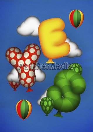 floating yes shaped helium balloons