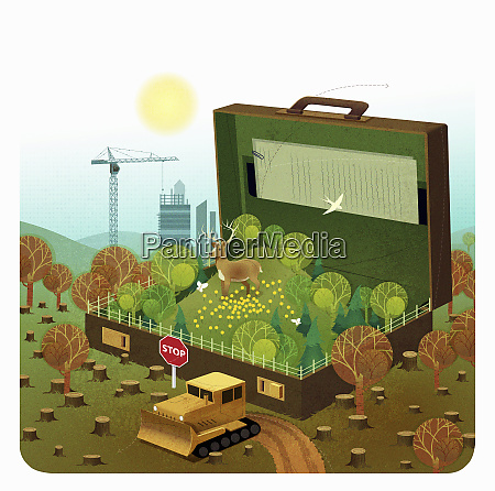 lush green countryside inside of briefcase