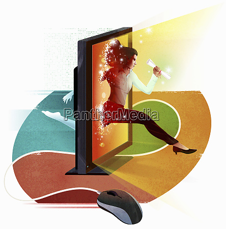 businesswoman jumping through computer screen holding