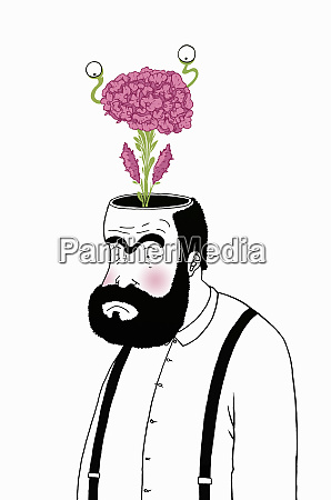 flower growing from mans brain