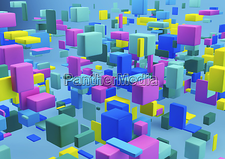 abstract arrangement of multicolored cubes on