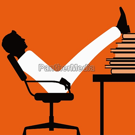 businessman with feet up on stack