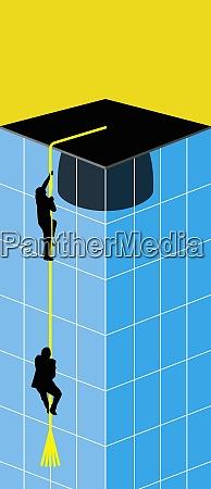 men climbing up building on tassel