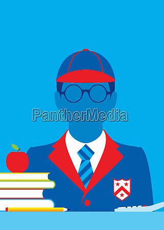 schoolboy in smart school uniform at