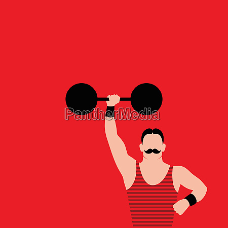 strong man with mustache holding barbell