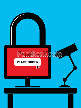 padlock computer online shopping with security