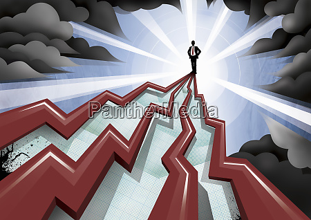 businessman standing on top of pinnacle