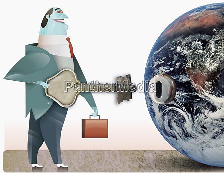 businessman holding key near keyhole on
