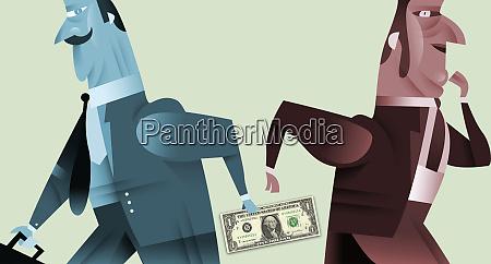 businessman handing money to co worker