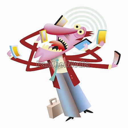 frantic businessman multi tasking answering lots