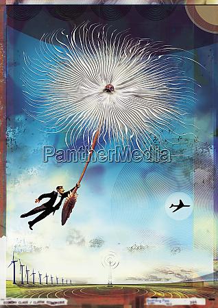 businessman floating on dandelion seed