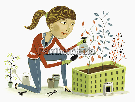 woman tending plants growing from roof