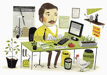 eco friendly businessman working in office