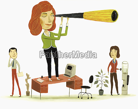 businesswoman standing on desk with telescope