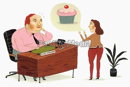 cupcake in speech bubble over woman