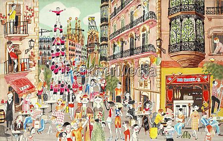 busy street scene at la merce