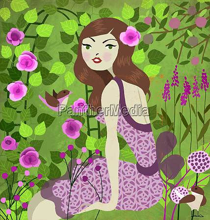 young woman sitting in lush garden