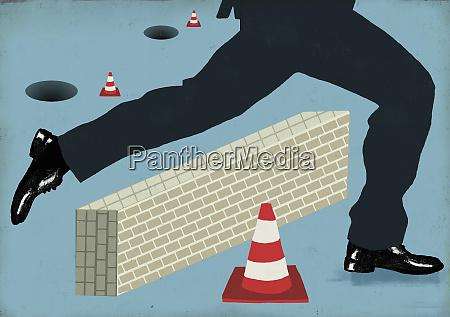 legs of tall businessman avoiding and