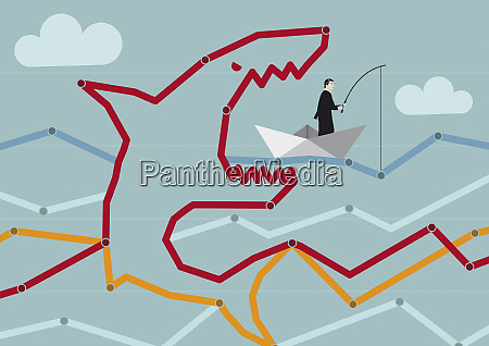 businessman in paper boat oblivious of