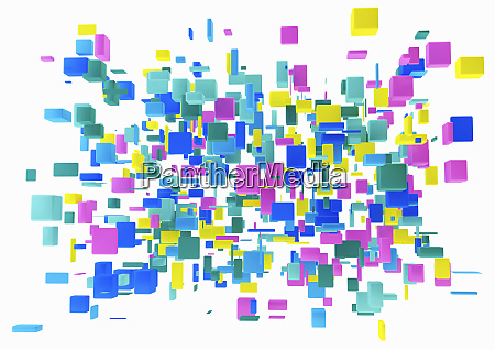 abstract cluster of multicolored cubes on
