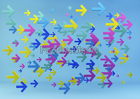 multicolored arrows on blue background