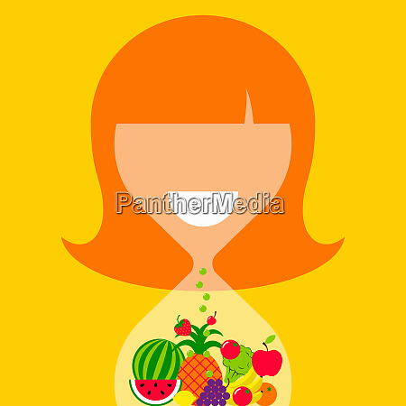 woman shaped as hourglass containing healthy