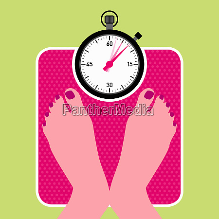 woman on bathroom scales with stopwatch