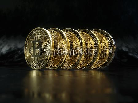 row of shiny new gold bitcoins
