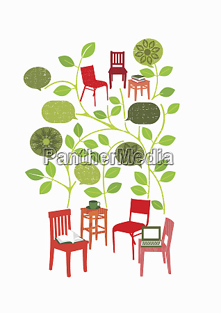 chairs with leaves and speech bubbles
