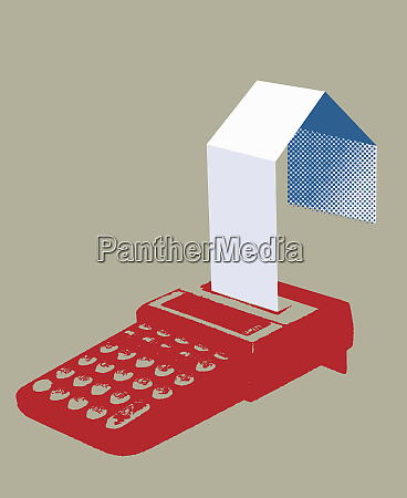 calculator printing paper in shape of