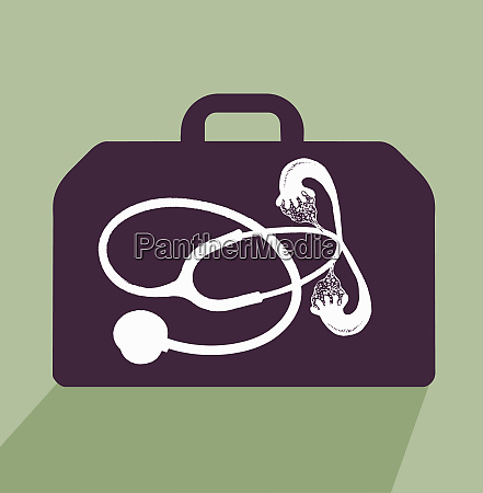 stethoscope with fallopian tubes in briefcase