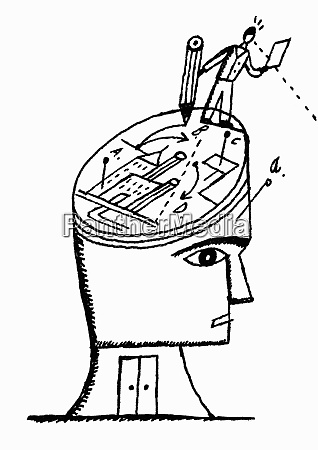 man drawing plans on head