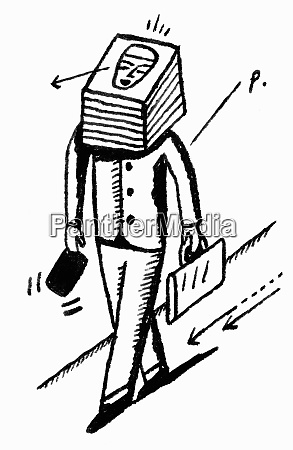businessman with stack of paper for
